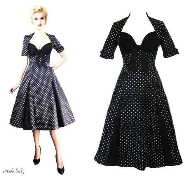Primary image for S 6 36 RETRO DEADLY SEXY ROCKABILLY DAMES BLACK POLKADOT SWEETHEART SWING DRESS