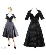 S 6 36 RETRO DEADLY SEXY ROCKABILLY DAMES BLACK POLKADOT SWEETHEART SWIN... - £31.05 GBP