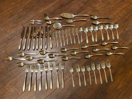 REVERIE Nobility Oneida silverplate 65 Pc.  COMPLETE SET for 8 With Soup... - $120.62