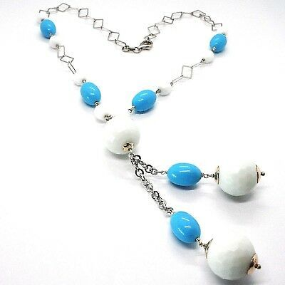 SILVER 925 NECKLACE, SPHERES AGATE WHITE FACETED, TURQUOISE OVAL, PENDANT