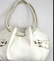 COLE HAAN Thick White Pebbled Leather Drawstring Hobo Shoulder Bag Satchel Purse - $29.69