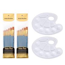 20pcs Brush Sets Including 2 Palette Nylon Hair Brush Sets Oil Painting ... - $15.22+