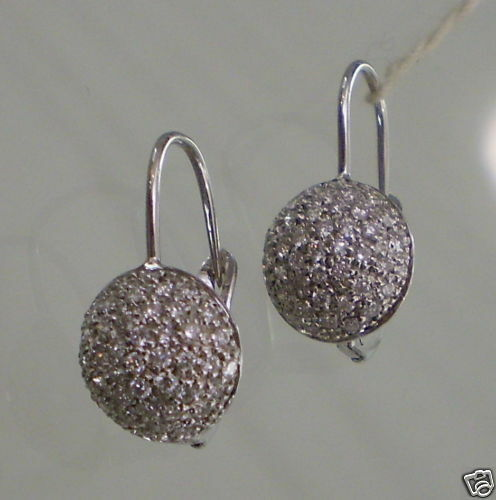 Hanging Earrings with Semicircle of Diamonds White Gold 750 18K