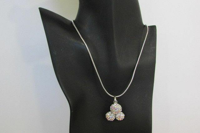 Damen Kurze Modische Halskette Metall 3 Bälle Silber Gold Strass Anhänger Bling image 3