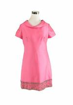 Pink LEE CLAIRE NEW YORK short sleeve beaded rhinestone trim vintage dre... - $30.00