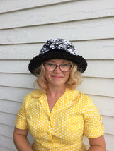 Vintage Black White Hat 60s Abstract Floral Straw Sun - $26.00