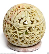 Marble Tea Light Candle Stand Holder Elephant Hand Carved Filigree Home ... - $47.36