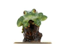 Hagen Renaker Miniature Tree Frog on Stump Ceramic Figurine