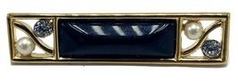 Vtg Monet Gold Tone & Black Enamel Brooch Pin Gold Tone Faux Pearl Rhinestone - $34.95