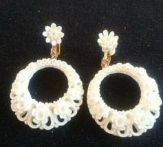 Vintage Featherlite Celulloid Flower Dandling Hoop Clip On Earrings - $25.00