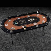 Folding Poker Table Top 10 Player Cup Holders Portable Card Game Room Ac... - $244.52