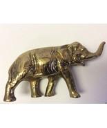 Vintage detailed brass metal elephant figurine - $51.48