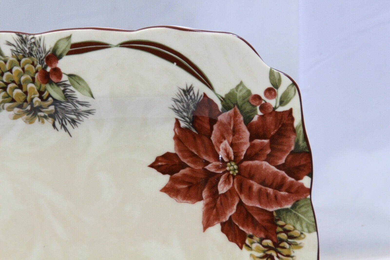 """222 Fifth Yuletide Celebration Poinsettia Square Dinner Plates 10.75"""" Lot of 6 image 3"""