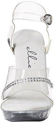 "Ellie M-Jewel Clear Rhinestones Dance Party Fancy Costume 5"" High Heel Shoes"