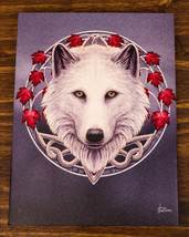 Guardian Of The Fall Autumn Season Snow White Wolf Wood Framed Canvas Wa... - $17.99