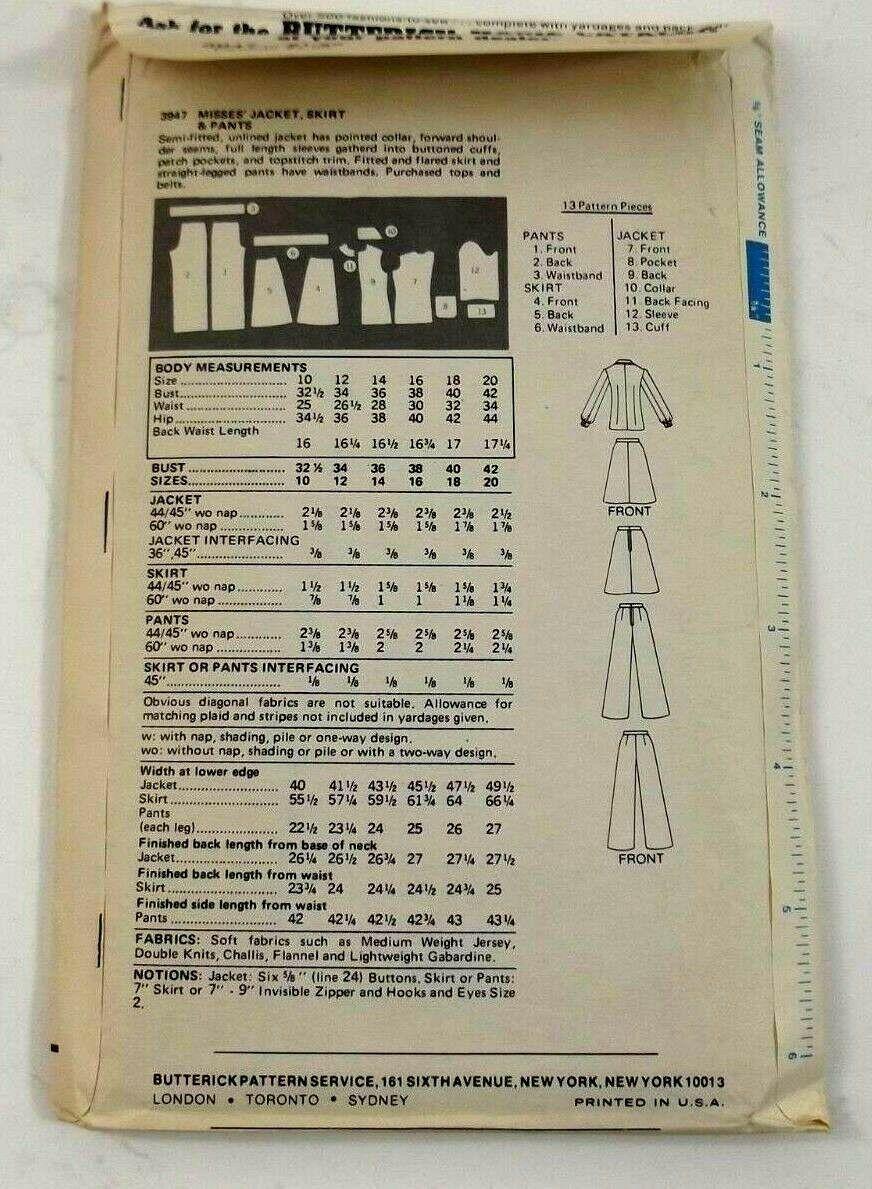 Butterick 3947 Sewing Pattern Misses Jacket Skirt Pants Size 12 Vintage Uncut