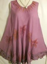 Dress Pink Palm Tree Print Sleeveless Free Size Fits L to XL Free Shipping - $16.82