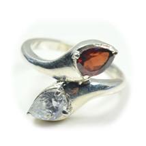 Natural Birthstone Garnet Ring Sterling Silver Handmade Jewelry Size Adj... - £20.37 GBP