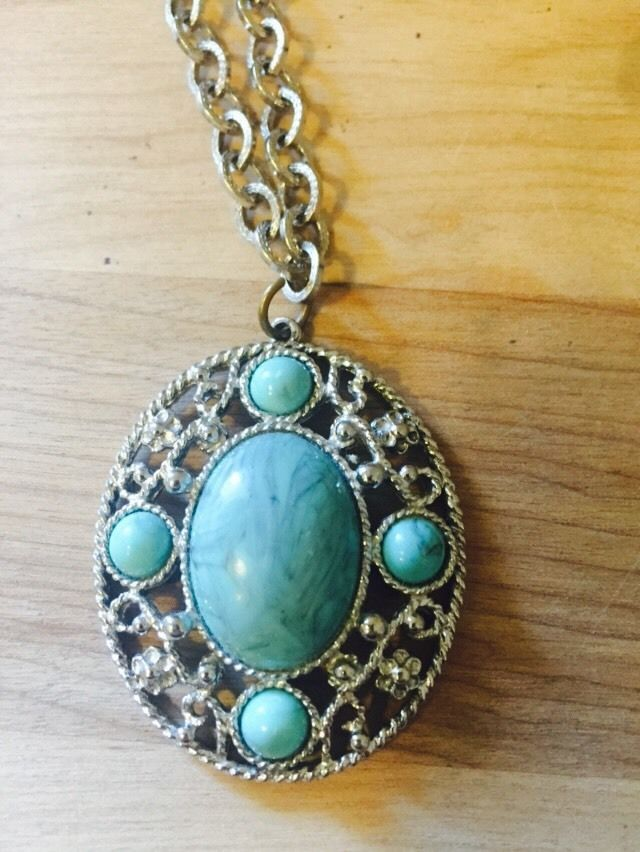 Primary image for Vintage Faux Turquoise Silver Toned Steel Pendant Necklace 2""
