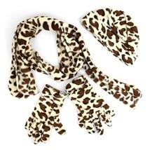 Women's Jaguar 3 Piece Fleece Hat, Scarf & Glove Winter Set - $14.39