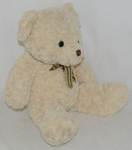 Baxters Bears Plush Ivory Color Teddy Bear Green Gold Plaid Bow image 2