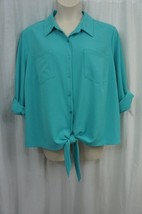 JM Collection Blouse Sz 3X Teal Blue Bliss Solid Buttoned Up Front Tie Blouse - $31.91