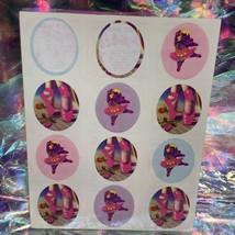 Lisa Frank Vintage HIPPO BALLERINA Sticker Sheet InComplete S117 80s Ballet Shoe