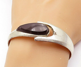 MEXICO 925 Silver - Vintage Tear Drop Black Onyx Smooth Bangle Bracelet-... - $121.83