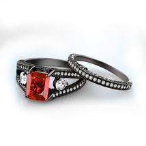 New Design Princess Cut Red Garnet Black GP .925 Sterling Silver Bridal Ring Set - $99.99