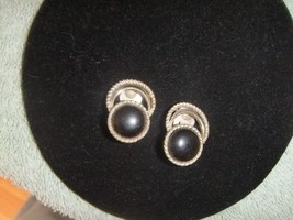 Vintage Clip On Earrings  Sarah Coventry Silvertone with Black Stone   #3 - $9.05