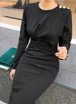 New black long sleeve ruched up top midi length women pencil dress autum... - $45.00