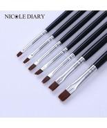 7Pcs/lot UV Gel Painting Pen Flat Drawing Brushes Kit  Nail Black Handle... - $5.76
