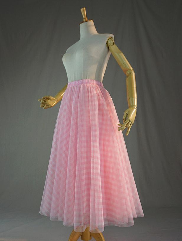 Tulle skirt pink plaid 1