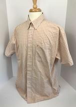 IZOD Button Down Short Sleeve Shirt Men's Orange White Check XL - $15.79