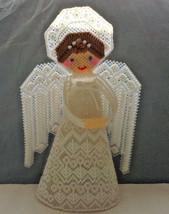 vintage plastic canvas cross stitch needlepoint handmade  tree top angel... - £15.33 GBP