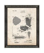 Cake Baking Iron Patent Print Old Look with Black Wood Frame - $24.95+