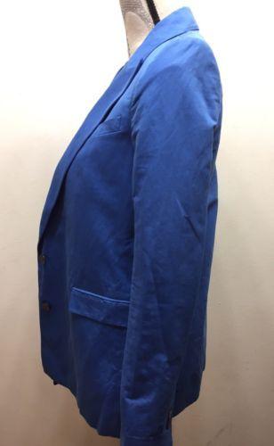 Zara Women Blue Long Blazer 2 Buttons Lined XS Made In Spain Cotton