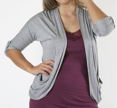 Plus Rolled Sleeve Cardigan, Gray Lightweight Cardigan, Heather Gray Sweater