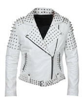 Women's White Brando Style Belted Leather Silver Spike Studded Slim Fit ... - $186.19