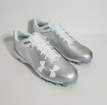 Under Armour Silver, White Leadoff Low RM Baseball Cleats Size 4.5 Youth - $37.40