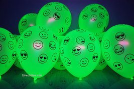 50 Pack Neon Yellow 11 inch UV Blacklight Reactive Latex Emoji Balloons - $27.95