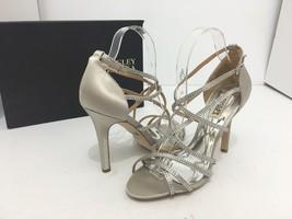 Badgley Mischka Meghan Silver Satin Women's Evening High Heels Sandals S... - $67.71