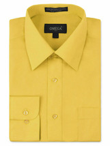 Omega Italy Men's Regular Fit Long Sleeve Yellow Button Up Dress Shirt - M
