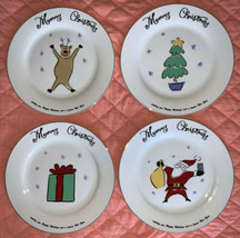 "Merry Brite Merry Christmas 4 Dinner Plates 10 1/2"" Tree Santa Reindeer ... - $34.64"