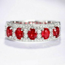 2 Ct Oval Cut  Red Ruby & Diamond beautiful Engagement Ring 14K White Go... - $108.48