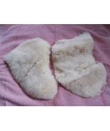 2 Small Pieces Fake Sheepskin Cream Color Soft ... - $11.88