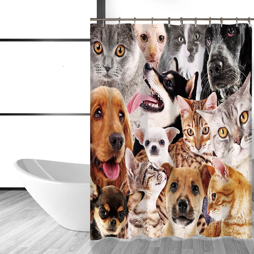Miracille Cute Dog and Cat Printing Bathroom Decorative Shower Curtain Waterproo image 3