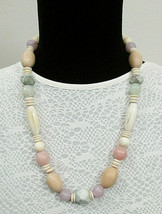 """Vintage Retro 80s 90s Muted Pastel & Wood Tone Chunky Beaded Necklace 23"""" - $17.99"""