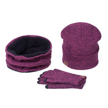 Fashion 3 Pieces Set Women Winter Hat And Gloves Sets Cotton Unisex Hat ... - $473,42 MXN