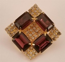 Amethyst Emerald Cut RS Paved Clear RS Diamond Shaped Brooch ES-267 - $27.72